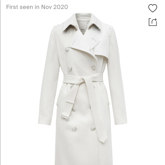 New Burberry white 100% cashmere trench coat 4 S